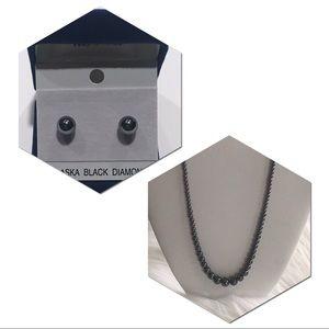 Jewelry - Alaska black diamond ear stud + necklace
